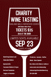 2017 Wine Tasting Charity event Poster